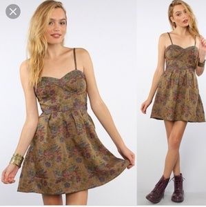 Free People Tapestry bustier strapless dress